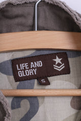 Life and Glory Womens S Jacket Khaki Military Cotton Zip Up