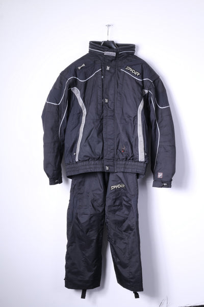 SPYDER Mens 54 XL Two Piece Ski Suit Black Dermizac X-Static 20000mm Jacket Trousers