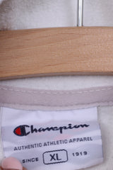 Champion Womens XL Fleece Top White Sweatshirt Zip Neck