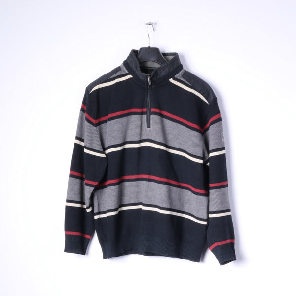 BRAX Mens 52 L Jumper Black Striped Zip Neck Wool Cotton Blend Sweater
