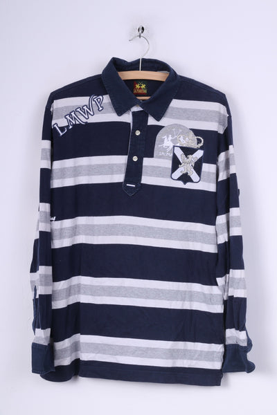 La Martina Mens XL Polo Shirt Long Sleeve Striped Cotton Navy