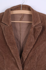 United Colors Of Benetton Womens 44 S Jacket Brown Corduroy Cotton Blazer