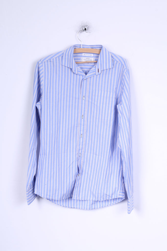 These Glory Days Mens M Casual Shirt Blue Striped Slim Fit Egyptian Cotton