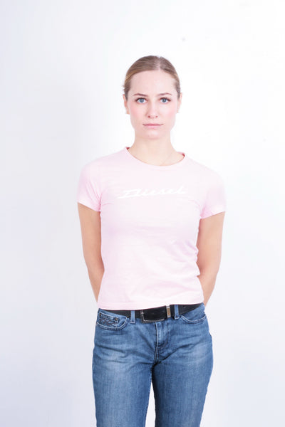 Diesel Womens S T-Shirt Pink Crew Neck Cotton Summer - RetrospectClothes