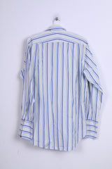 Boden Mens 15.5 L Casual Shirt Blue Stripes Cotton Long Sleeve