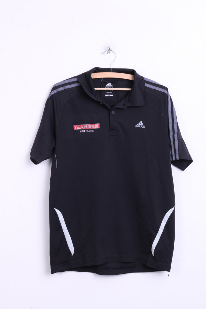 Adidas Mens M Polo Shirt Black Top Team Sportia Simrishamn - RetrospectClothes