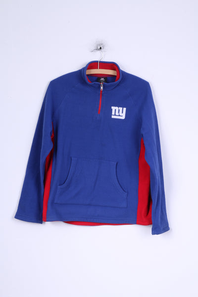 NFL Team Apparel Boys / Youth L 14-16 age Fleece Top Blue Zip Neck Kangaroo Pocket