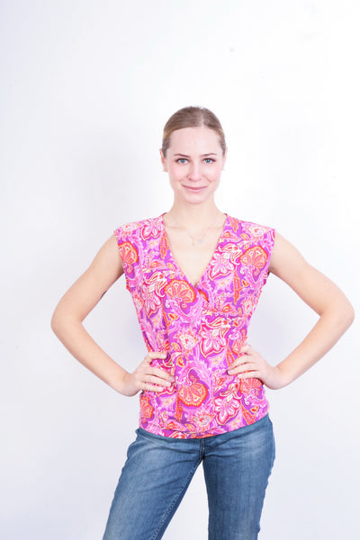 Chaps Womens M Blouse Shirt Flowers Multi Colour - RetrospectClothes