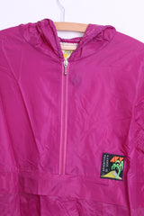 AVV Avventura by Sorry Womens L Nylon Light Jacket Hood Zip Neck Fuchsia - RetrospectClothes