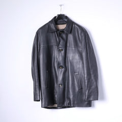 Loro Piana Mens XL Soft Leather Jacket Black Short Coat Removable Cashmere Lining Classic Italy