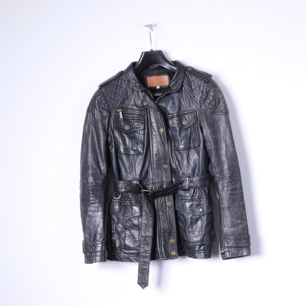 River Island Womens 10 S Jacket Black Leather Full Zipper Belted Biker Top