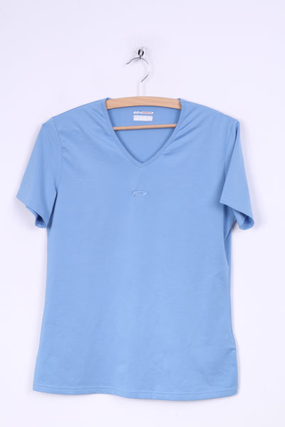 Reebok Womens M Shirt Light Blue V Neck Sport Short Sleeve