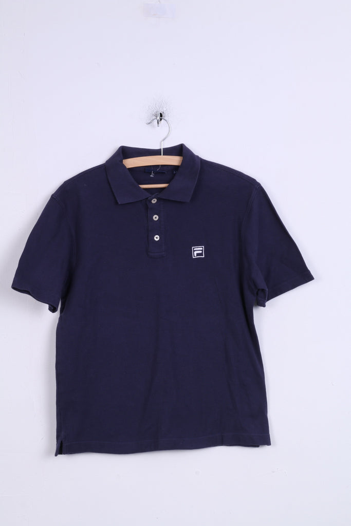 FILA Mens S Polo Shirt Navy Short Sleeve Cotton Sport