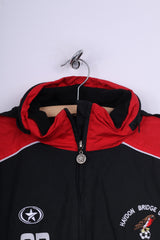 CR Haydon Bridge United A.F.C Mens M Jacket Zip Neck Black Sportswear Padded Hidden Hood