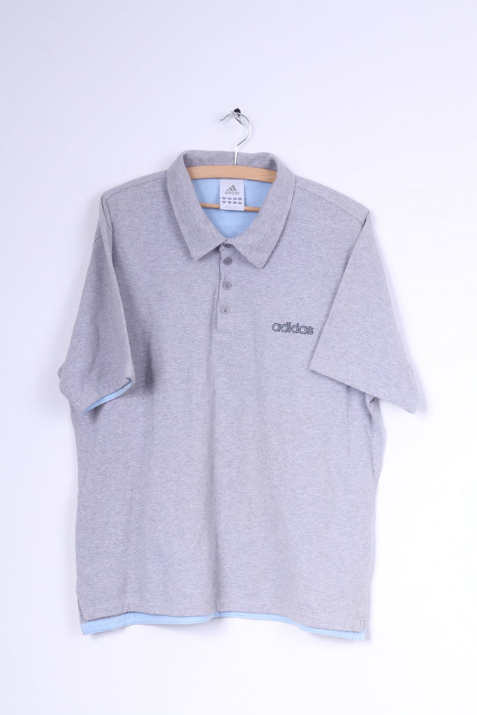 Adidas Mens XL Polo Shirt Grey Sport Short Sleeve Cotton