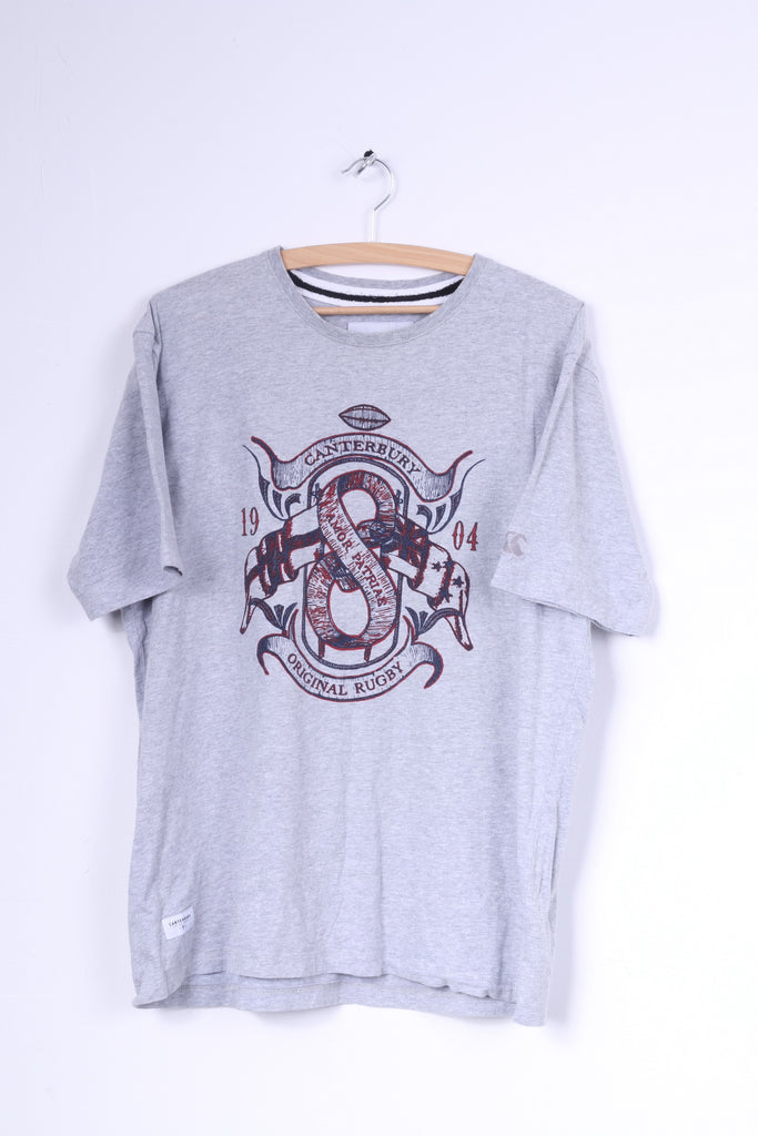Canterbury Mens L T-Shirt Grey Cotton Original Rugby Crew Neck