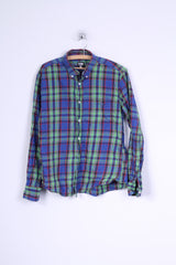 FSBN Mens L (M)  Casual Shirt Blue Checkered Button Down Collar Cotton