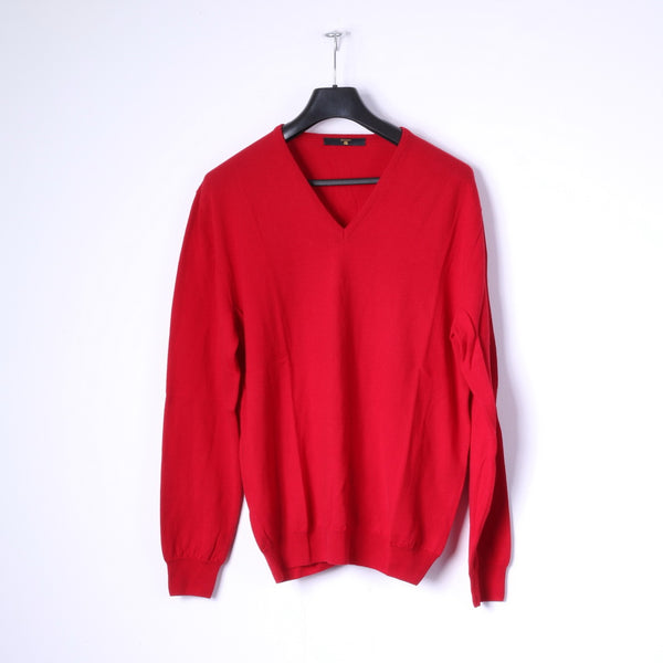 BECOME Mens L Jumper Red 100% Wool Soft V Neck Sweater Top