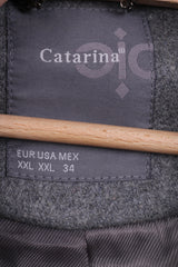 Catarina Womens XXL Jacket Grey Winter Wool Nylon Full Zipper