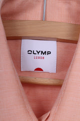 Olymp Luxor Mens 15.5'' 39 M Casual Shirt Peach Short Sleeve Cotton Summer Top