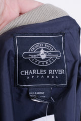 Charles River Apparel Mens L Jacket Polar Beverages Dark Blue Aviator Pilot - RetrospectClothes