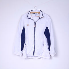 Reebok Womens M 14 Jacket White Sportswear Top Full Zipper Vintage