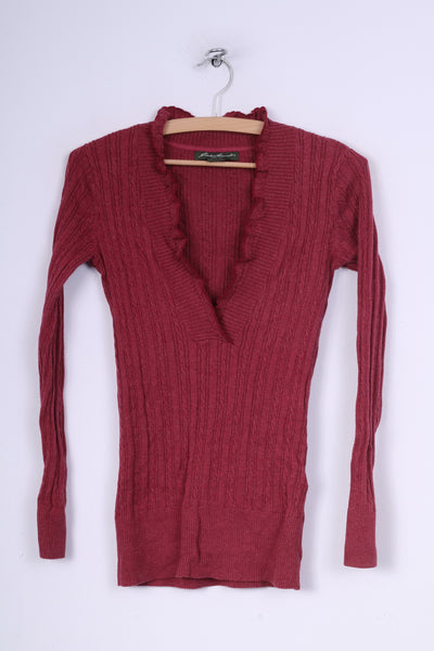 Eddie Bauer Womens XS Jumper V Neck Sweater Maroon Cotton Nylon Knit