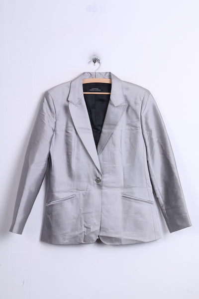 Strenesse GABRIELE STREHLE Womens 14 XL Blazer Single Breasted Silk Silver Jacket