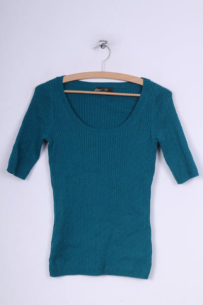 Eddie Bauer Womens XS Jumper Round Neck Sweater Turquoise Short Sleeve Cotton Nylon Knit
