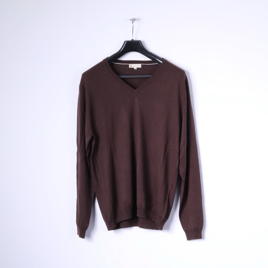 Duca Di Valtorta Mens XXL Jumper Brown Silk Cashmere Blend V Neck Classic Sweater