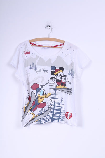 DISNEY Womens 14-16 M T-Shirt White Cotton Crew Neck Mickey Mouse