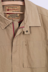 Reserved Mens XL Jacket Taupe Nylon Zip Up Waterproof Tourist Sportswear
