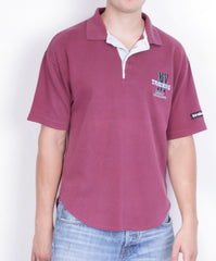 Adidas Mens M Polo Shirt Short Sleeve Maroon Cotton Sport Traning - RetrospectClothes