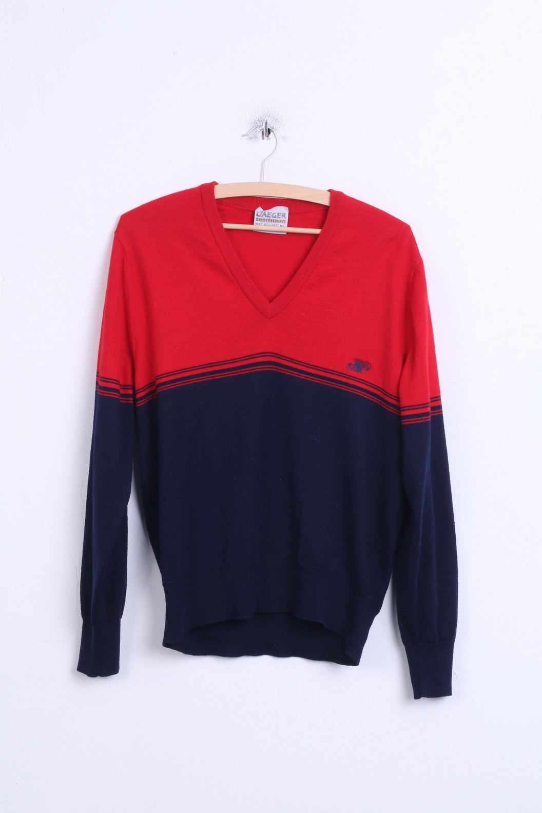 Jaeger Youth 42 Xl Mens S Jumper Sweater Navy Red V Neck Wool Retrospectclothes