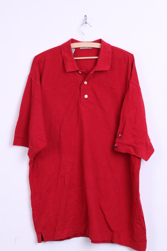 Cutter & Buck Mens XL Polo Shirt Red Cotton Top Jersey Big & Tall - RetrospectClothes