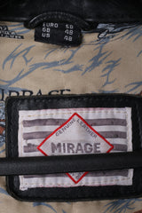 MIRAGE Styled By DIFI Mens 58 XXL Motorcycle Jacket Black Leather For Pilots Biker Top