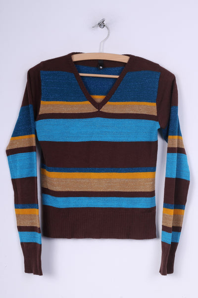 H&M Divided Womens S Jumper Sweater V Neck Striped Brown /Blue Shiny