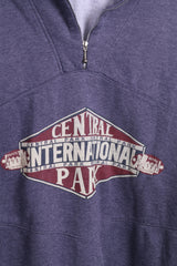 Central Park Mens L Classic Sweatshirt Authentic Zip Neck Cotton Top - RetrospectClothes