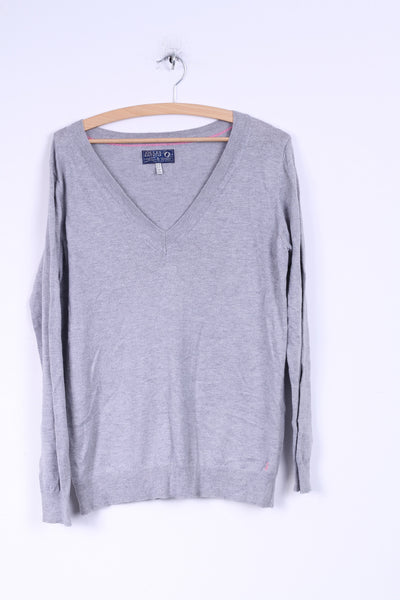Joules Knitwear Womens 14 XL Jumper V Neck Sweater Grey Cotton