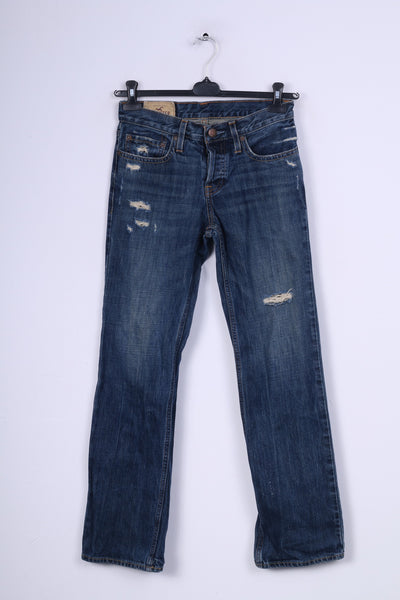 Hollister Womens W 28 L30 Trousers Navy Jeans Denim Cotton Ripped