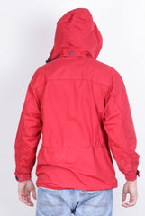 Trespass Mens M Jacket Full Zipper Red Waterproof Windproof Hoodie - RetrospectClothes