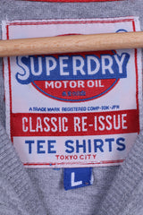 Superdry Mens L T-Shirt Tokyo Motor Oil Graohic Cotton Top Crew Neck Faded