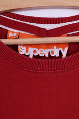 Superdry Mens M (S) T-Shirt Red Cotton Japan Graphic Crew Neck Top
