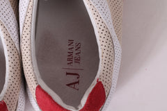Armani Jeans Mens 9.5 44 Shoes Beige Detailed Sneakers Leather Trainer