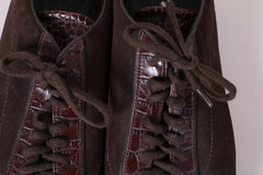 Santom Men's 9.5 44.5 Shoes Dark Brown Leather Lace Up Made In Italy