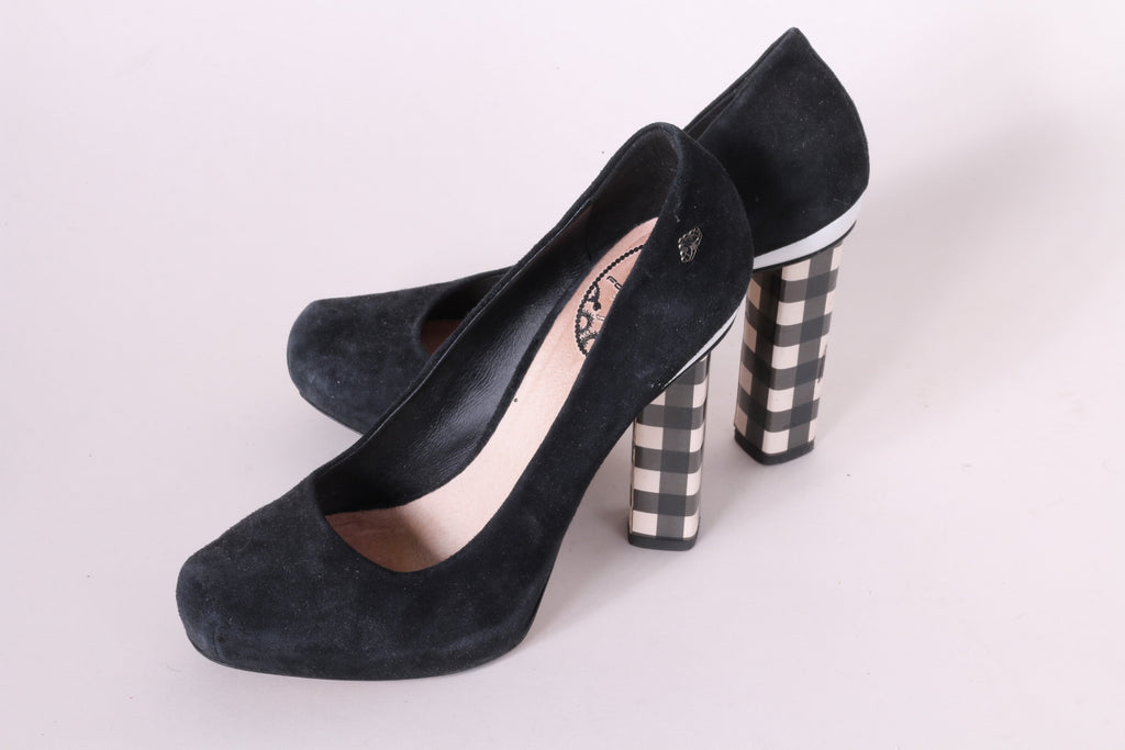 Fornarino Women's 39 Heels Black Suede Beige Check Heels Shoes Made in Italy