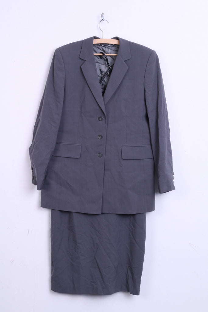 Marks & Spencer Womens 12 L Set Skirt and Blazer Grey Check Wool - RetrospectClothes