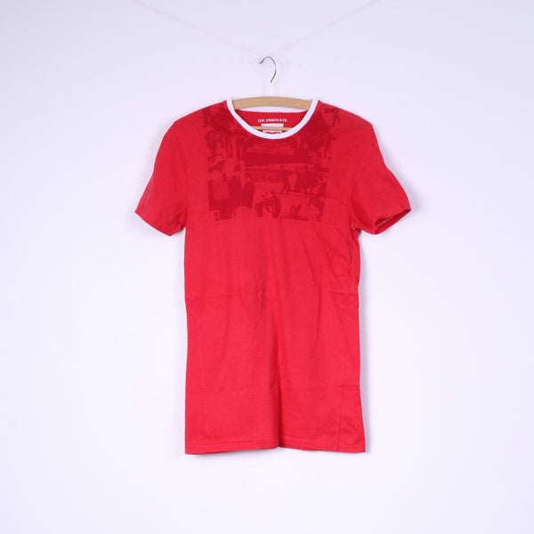 Levi Strauss Womens S Shirt Red Cotton Levi's Logo Long Top