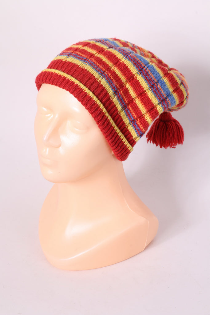 Lwikki Women's Hat One Size Red Merino Wool Blend Striped Knit Cap
