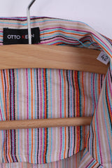 Otto Kern Womens 42 L Blazer Multi Color Striped Summer Light Jakcet Top